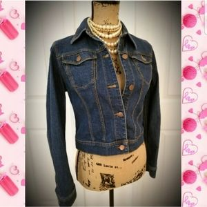 Denim jacket dark wash hip length blue jean coat